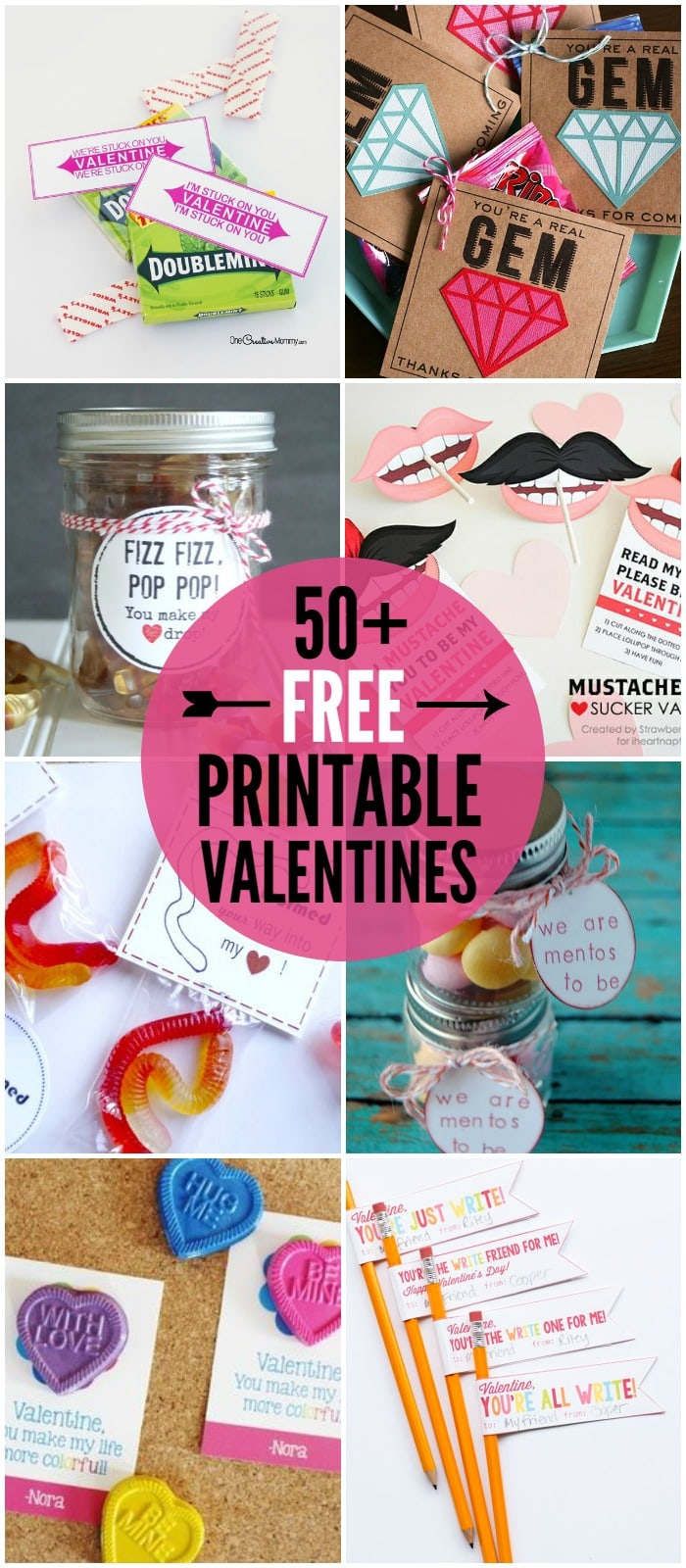 50+ FREE Printable Valentines - a roundup of lots of great Valentine's printables on { lilluna.com }
