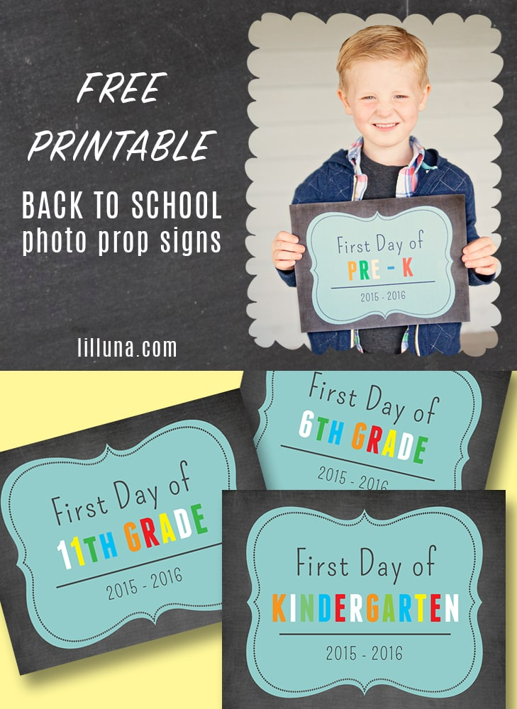 FREE Printable Back 2 School photo prop signs - SO cute!! Printing these out for the kids!! Download the free prints on { lilluna.com }