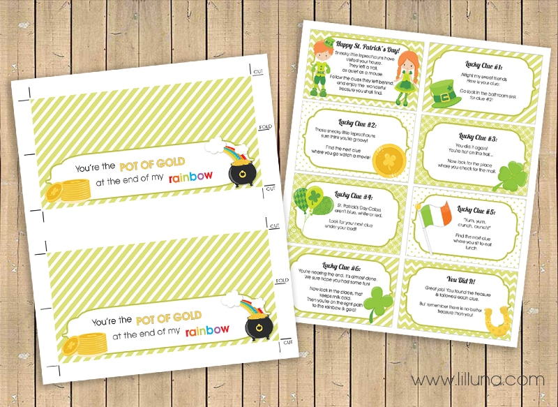 You're the Pot of Gold Printable and Treasure Hunt Clues Prints