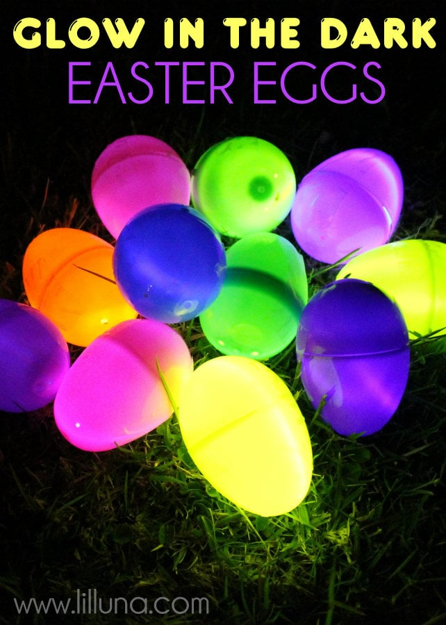 Glow in the Dark Easter Eggs!! The kids LOVED this!!! { lilluna.com } Plastic eggs filled with glow sticks!!