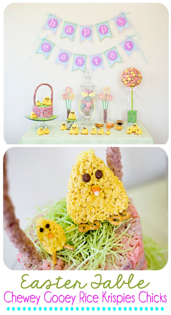 Easter Table and Chewey Gooey Rice Krispies Chicks - so cute to make for Easter. { lilluna.com }