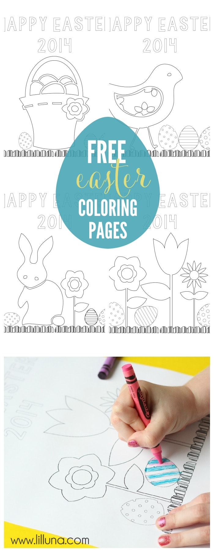 Free Easter Coloring Pages - perfect for the kiddos on Easter Day! { lilluna.com }