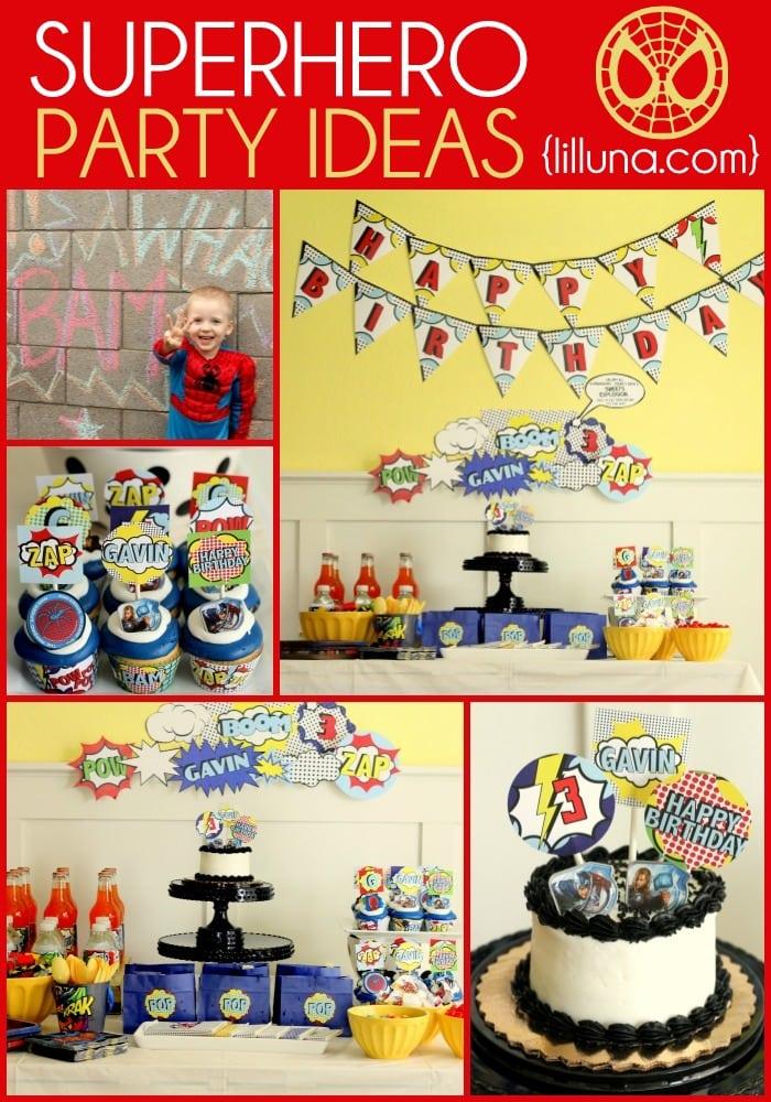 Superhero Birthday Ideas on { lilluna.com } Decor ideas, recipes, & prints for your party!