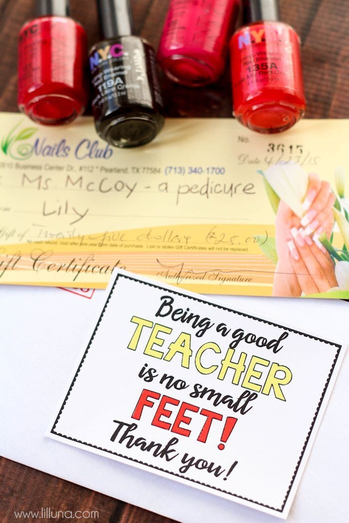 "No Small ""Feet"" Pedicure Gift Card Teacher Gift with free Tags - also free tags for mom for Mother's Day and for a friend for any day. Free prints on { lilluna.com }"