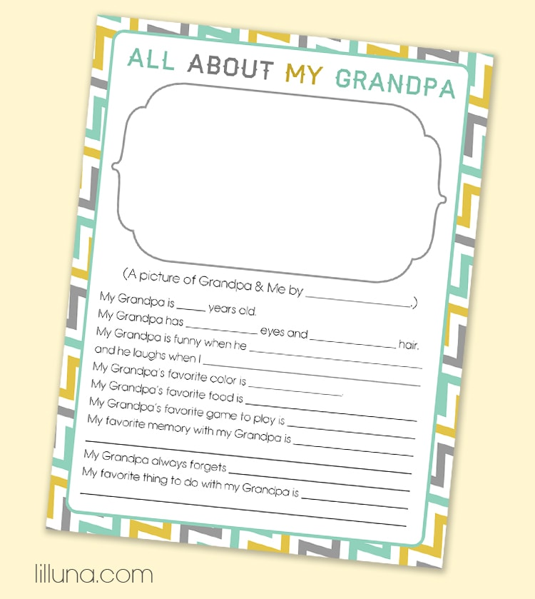 CUTE and FREE Father's Day Questionnaire - just download, print and have the kiddos fill out for a sweet and personalized gift for dad OR grandpa. { lilluna.com }