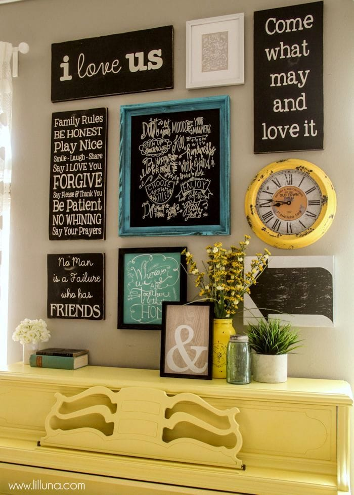 Quotes and Sayings Gallery Wall - so pretty!