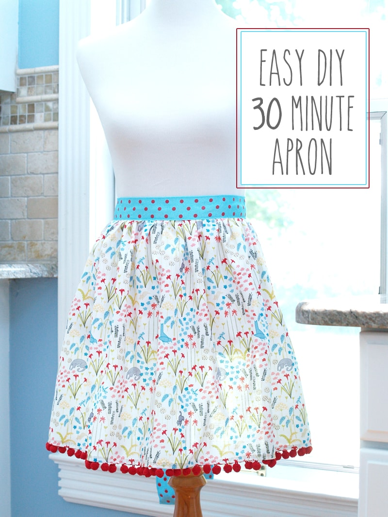 Easy DIY 30 Minute Apron Tutorial - a cute gift idea or project! { lilluna.com } All you need is some cute fabric, ribbon, and pom pom trim!