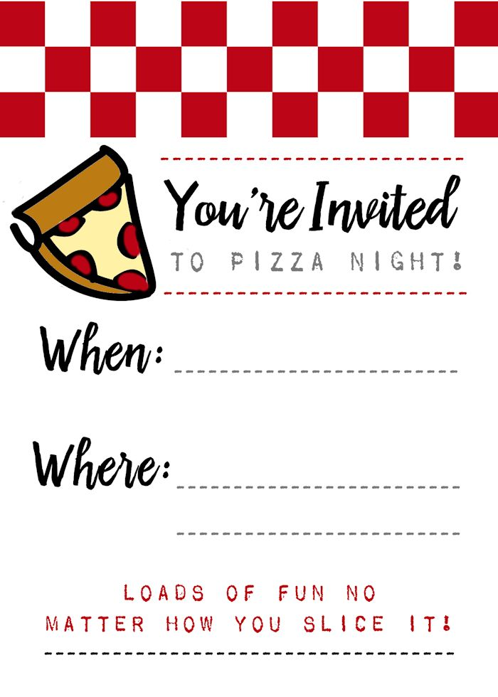 Pizza Night Invites FREE print!! A fun and colorful invite for your next pizza party!