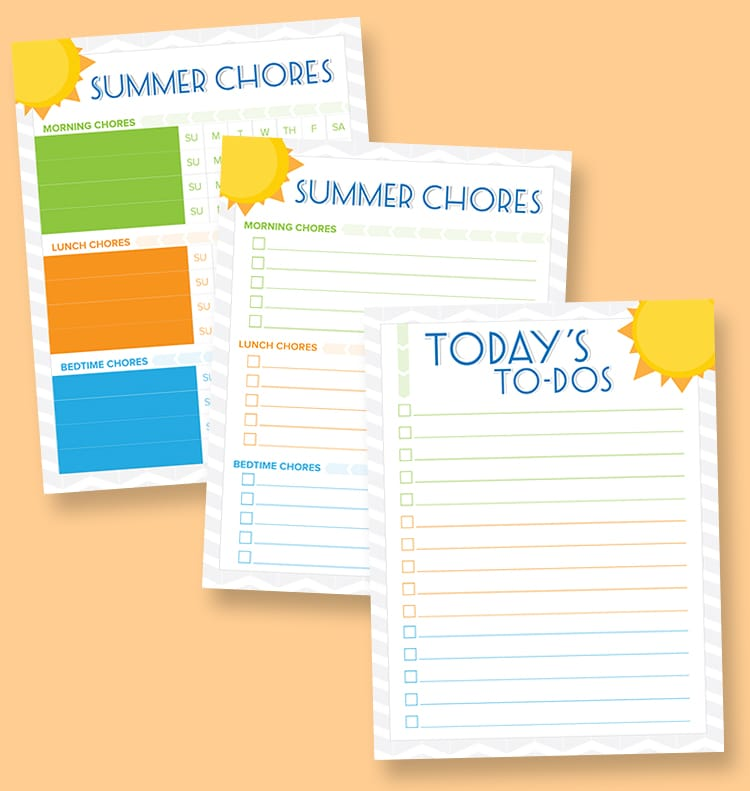 Free Printable Summer Chore Charts for kids - a free boy and girl version. Download at { lilluna.com } A great way for kids to see and mark off their chores.