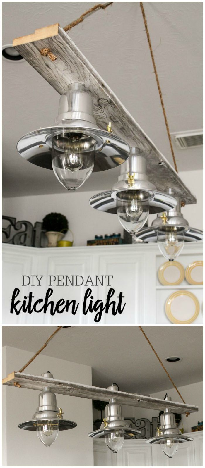 Beautiful DIY Pendant Kitchen Light - made for about $100 and the perfect addition to any room or kitchen. FREE tutorial on { lilluna.com }