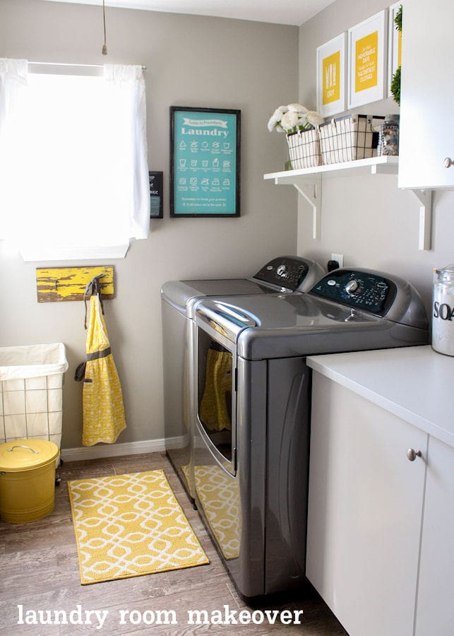 Beautiful Laundry Room Makeover on { lilluna.com } Great ideas to help inspire your own creativity!!