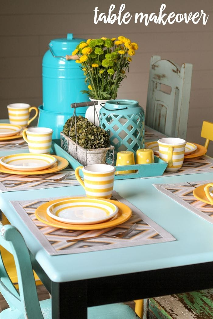 Beautiful Table Makeover tutorial on { lilluna.com } Great tips and ideas to inspire your own table makeover!