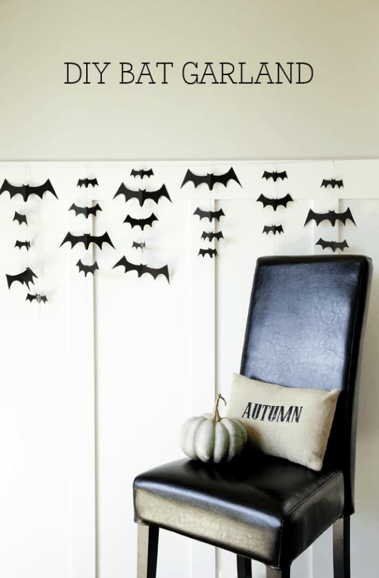 DIY Bat Garland - so easy and so spooky. Tutorial on { lilluna.com } Grab some cardstock, string, and scissors and you're set!