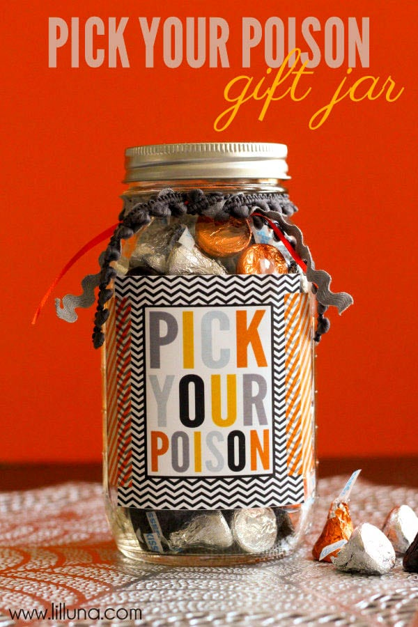 Easy and Cute Pick Your Poison Gift Idea on { lilluna.com } So easy to make, just fill with goodies and add some ribbon and the label!