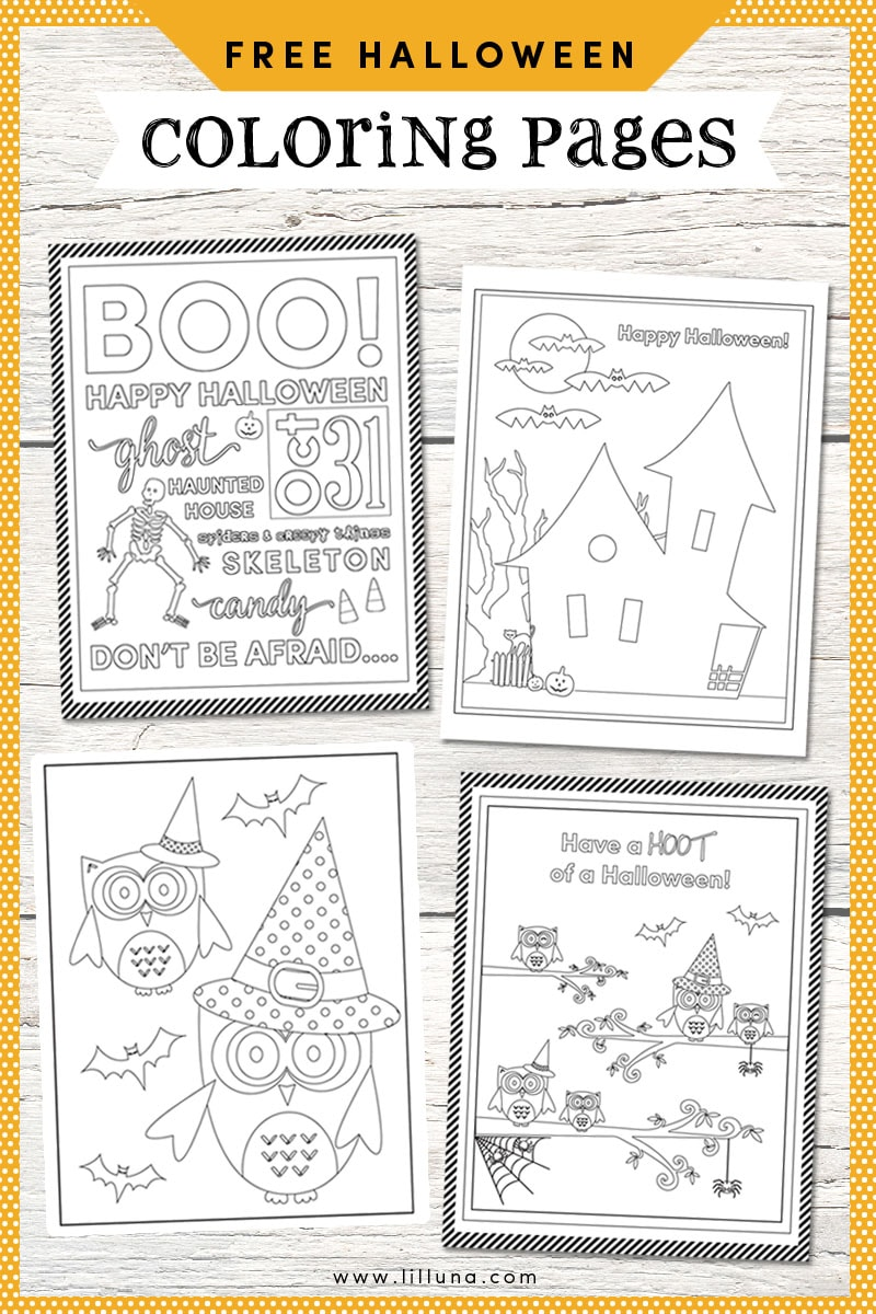 FREE Halloween Coloring Pages - the kids will love these!! Get the prints on { lilluna.com }