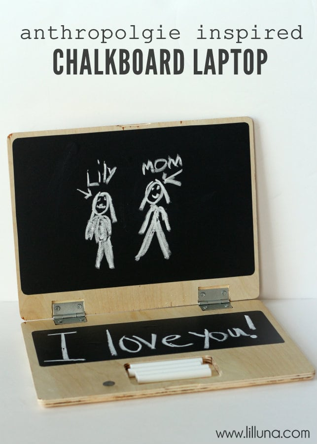 Anthro Knock-off Chalkboard Laptop Tutorial on { lilluna.com } The kids will love this!!