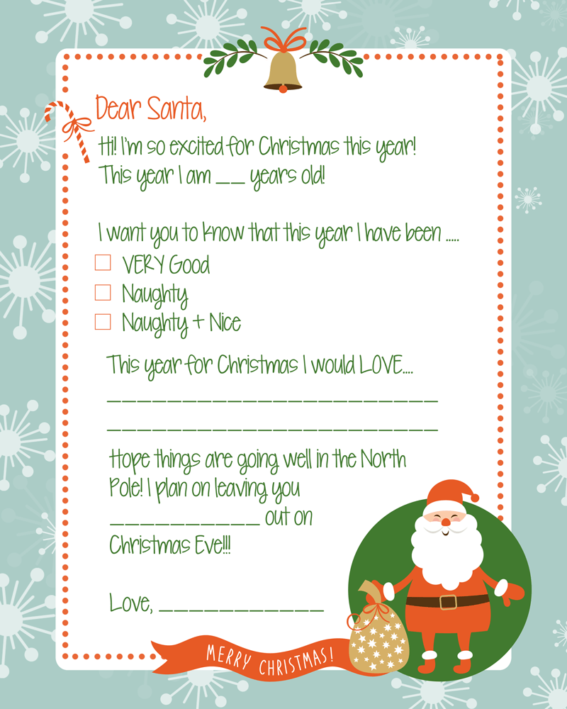FREE Printable Letter to Santa Print - perfect for the kids to fill out and send to to Santa!