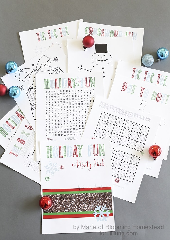 Holiday Fun Activity Pack - free prints for the kids to use this holiday season including Crossword puzzles, Tic Tac Toe and more!