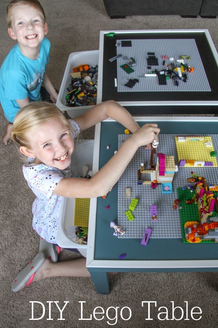 DIY Lego Table with storage bin underneath to hold all the extra legos and an edge to keep them from falling off! It's the perfect gift for the Lego Lover!