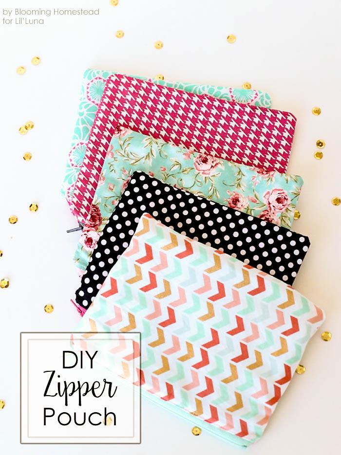 Easy sew zipper pouches- Perfect beginner project! Full tutorial on { lilluna.com }