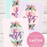 FREE Happy Easter Printables - available to download in 3 colors! This would be great decor, just stick in a frame!
