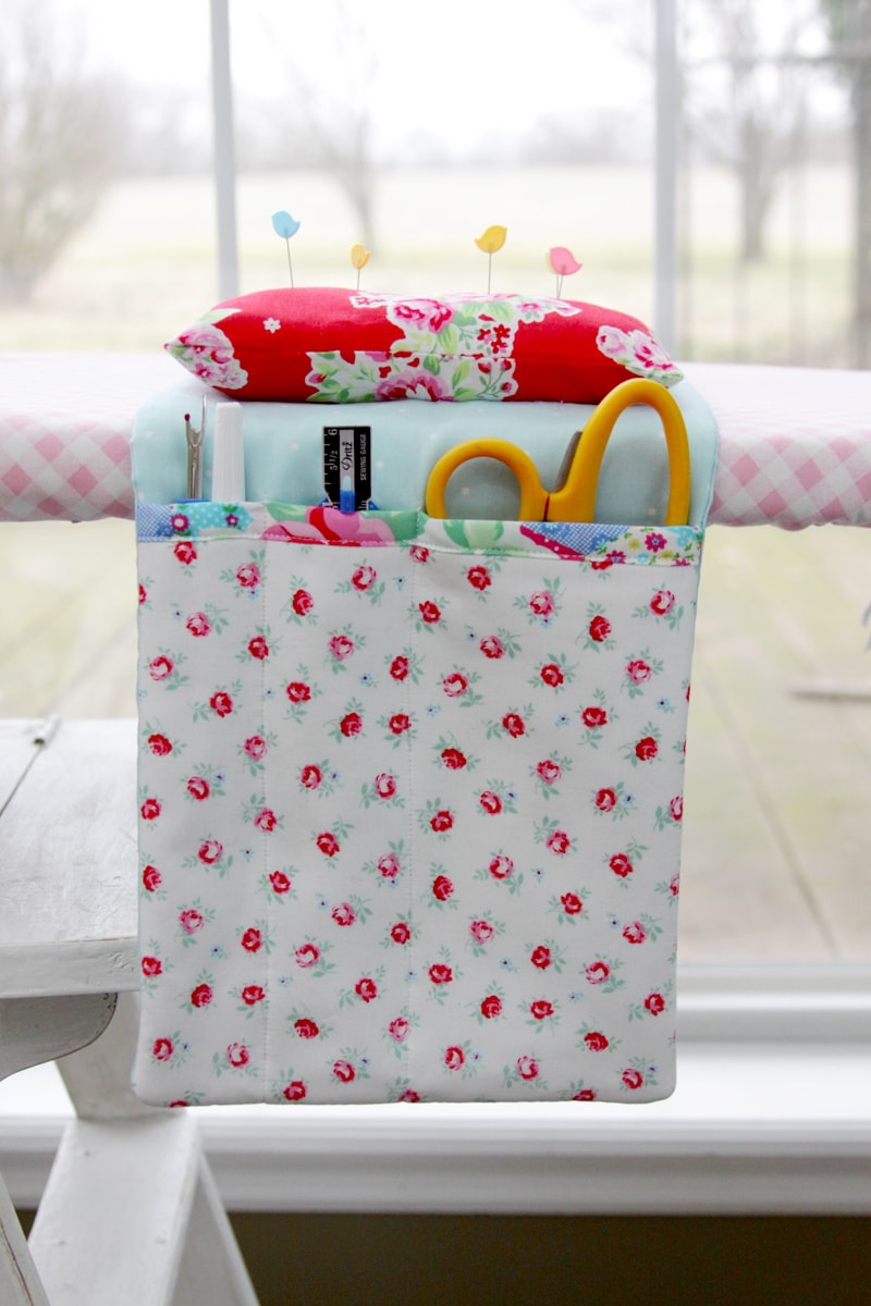 Quick and Easy Ironing Board Organizer - so handy to have to hold scissors, pins and more while making your projects! Doesn't require a lot of supplies either!