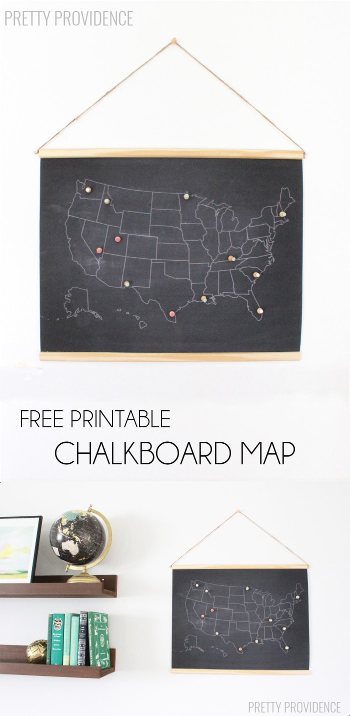 Super fun (and FREE) printable chalkboard map to document your travels! A great decor piece to add to your home.