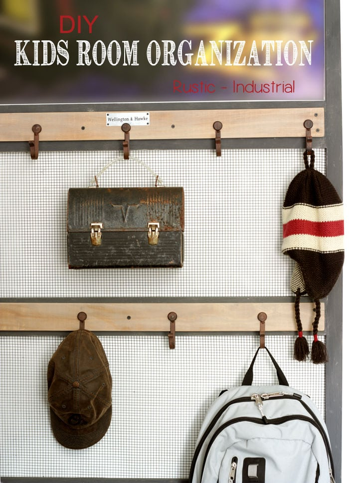 DIY Rustic Wall Organizer tutorial- a great wall art and organization center perfect for the kids room or any room in the house!