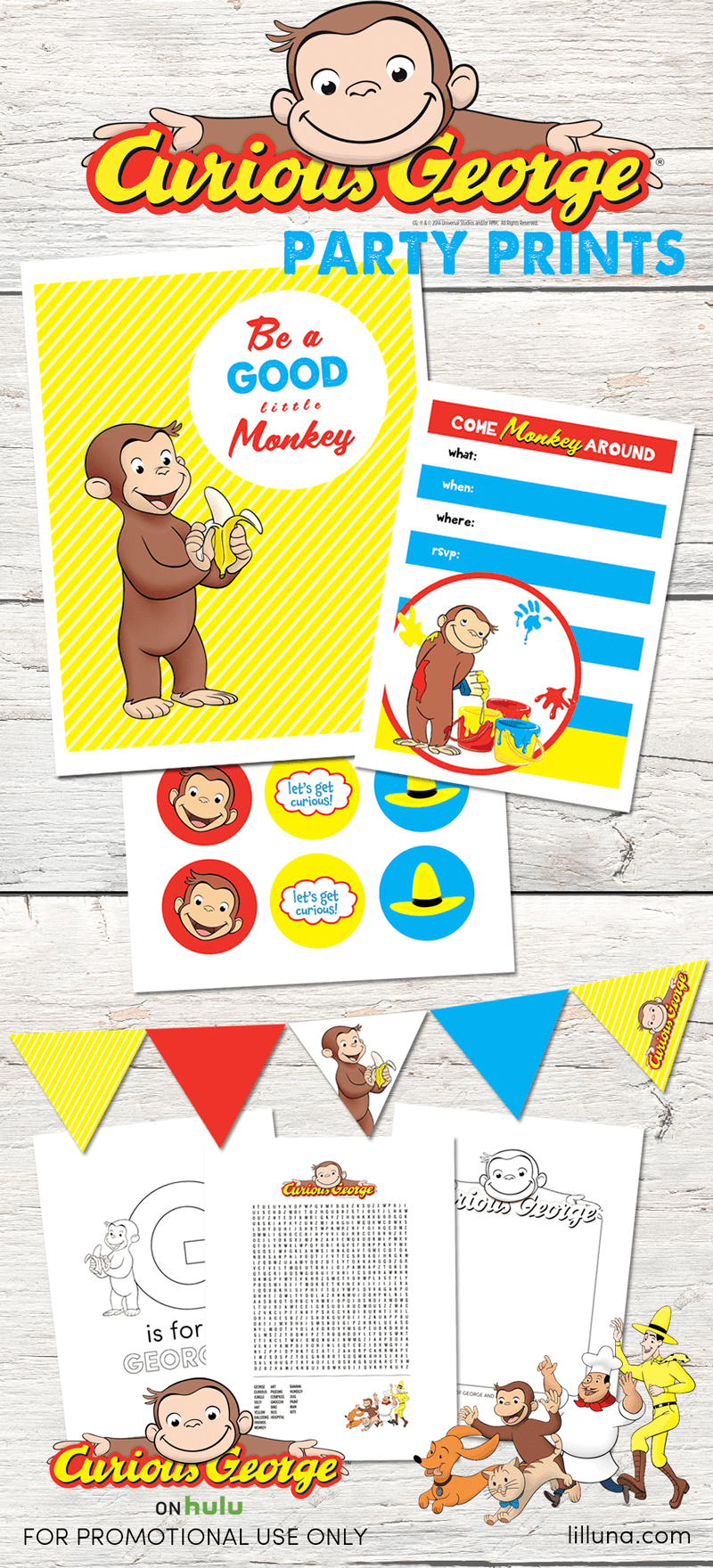 Homemade Monkey Bark, Monkey Pudding Pies, and FREE Curious George Party Printables to celebrate Curious George streaming exclusively on Hulu!! #ad