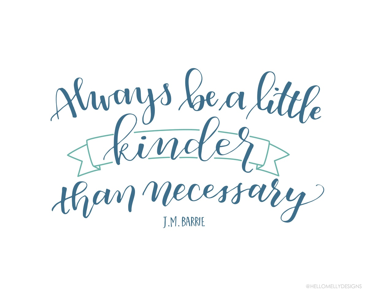 Always be a little kinder than necessary. Free Printable in 3 colors that can downloaded, printed and displayed in your own home.