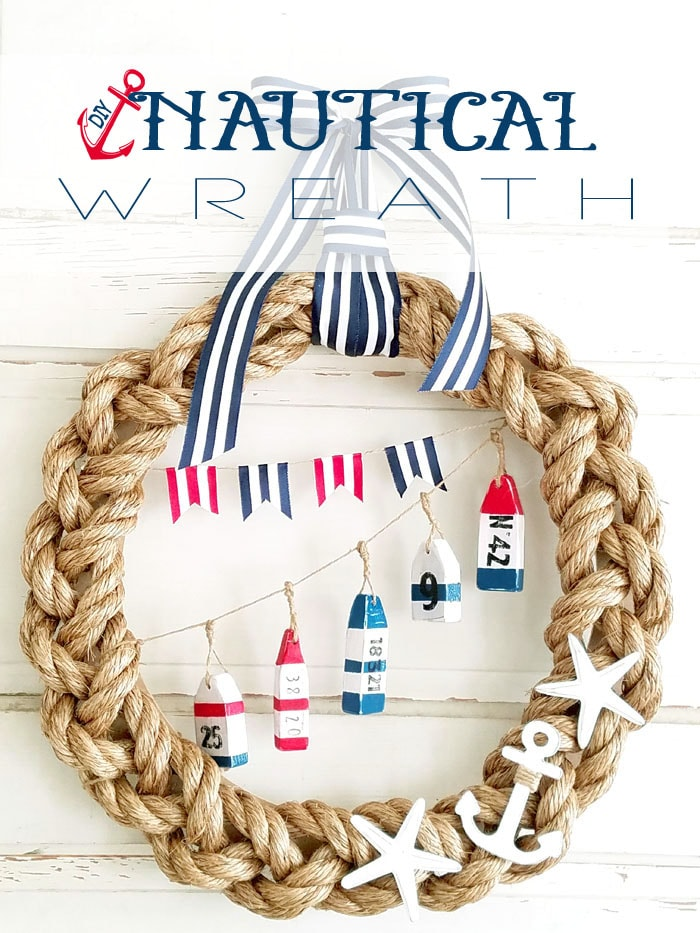 DIY Rope Nautical Wreath - an awesome DIY project for the summer! A super cute combo of rope and ribbon to make this nautical wreath! { lilluna.com }