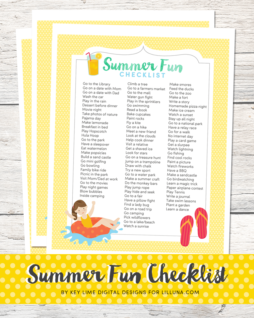 Summer Fun Checklist - FREE printable with lots of fun and creative activities to bust your kids' summer boredom!