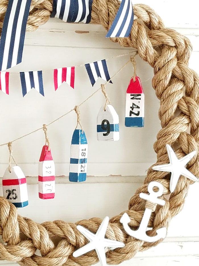 Nautical Wreath with row of Buoys