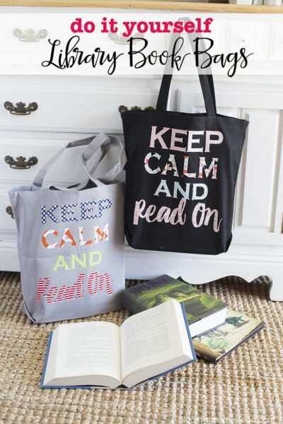 DIY Library Book Bags - fun customized bags that help the kids to carry their books home from the library, and keep them in one place so they don't get lost! Super easy to make!!
