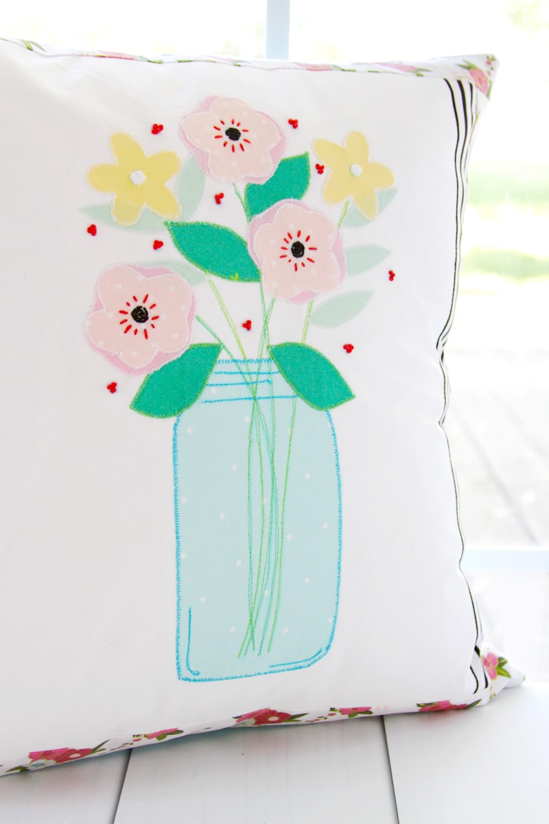 Floral Mason Jar Pillow to Sew
