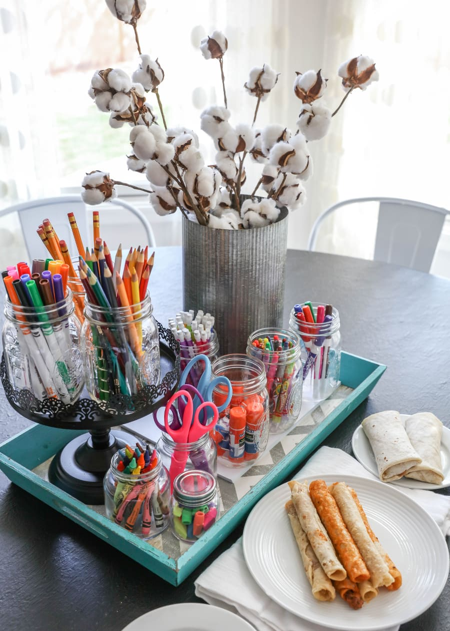 DIY Homework Station - a place for all the supplies to help the kids get homework done more efficiently and more stress-free PLUS more Back 2 School tips!