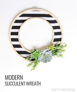 DIY Modern Succulent Wreath at PRETTY PROVIDENCE