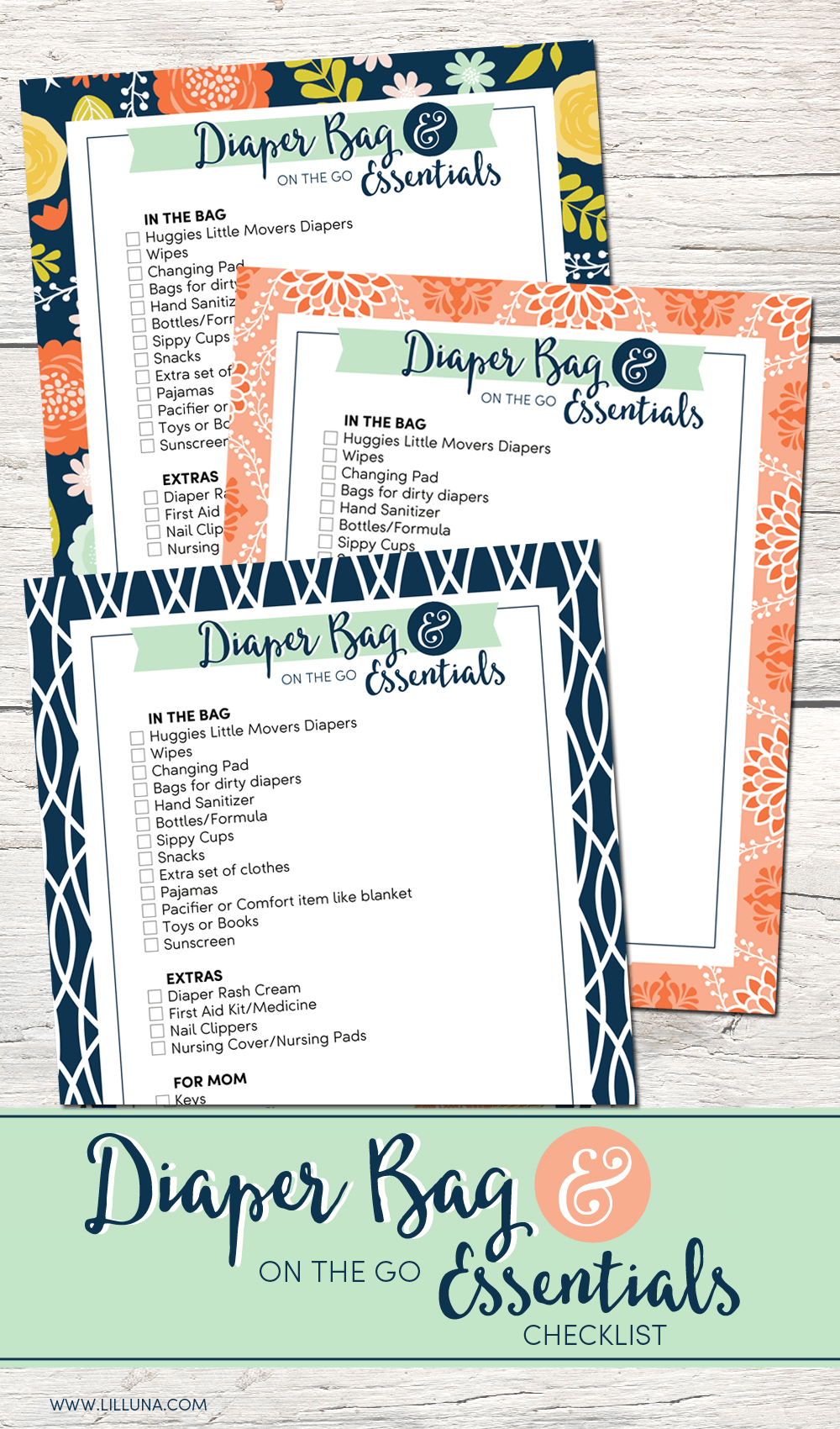 Diaper Bag and on the go Essentials list - tips for being on the move with your little movers.