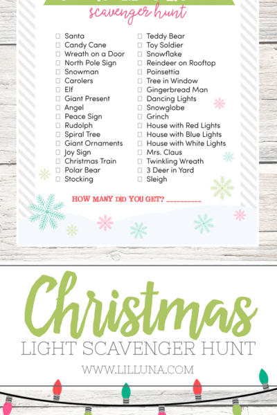 Christmas Light Scavenger Hunt - a fun game to play with the kids as you drive around and admire Christmas lights!!
