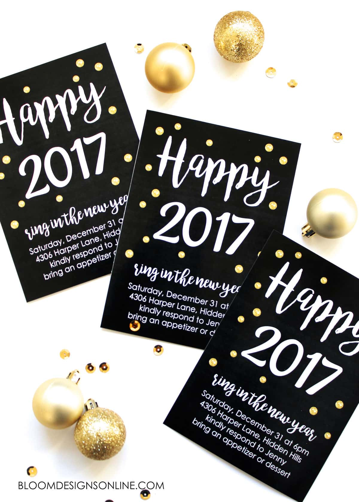 A great party starts with a great invitation! Set the mood for YOUR New Years party by downloading the file and inserting YOUR party info in the printable. That's right - it's editable!!