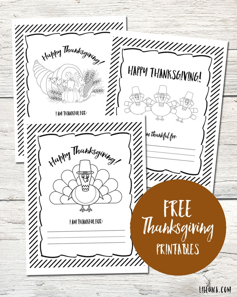 FREE Thanksgiving Coloring Pages - just download, print and use for the kids to color in November or for the kids table on Thanksgiving!