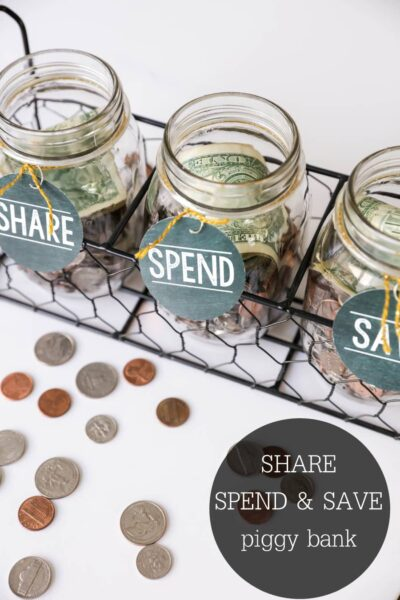 FREE SHARE, SPEND, SAVE tags to help teach your family how to manage money and also give back!