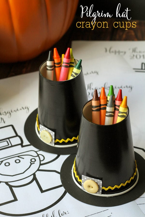 CUTE and Simple Pilgrim Hat Crayon Cup Holders - perfect for Thanksgiving { lilluna.com } Supplies needed include - black cups, black scrapbook paper, buttons, and rick rack.