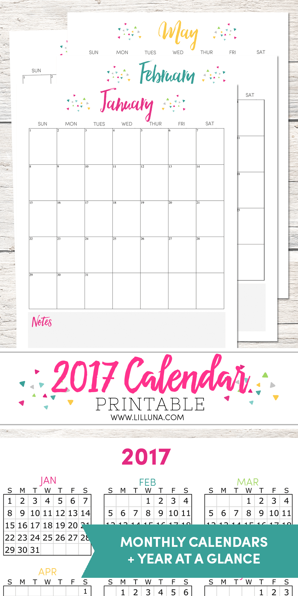 FREE 2017 Calendar - even has a NOTES section on the bottom to help you be organized in the new year.