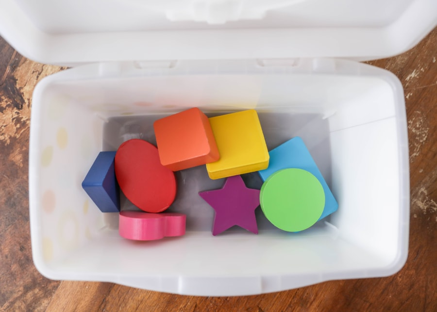 Turn a wibes tub into a learning toy and storage box for the kids!