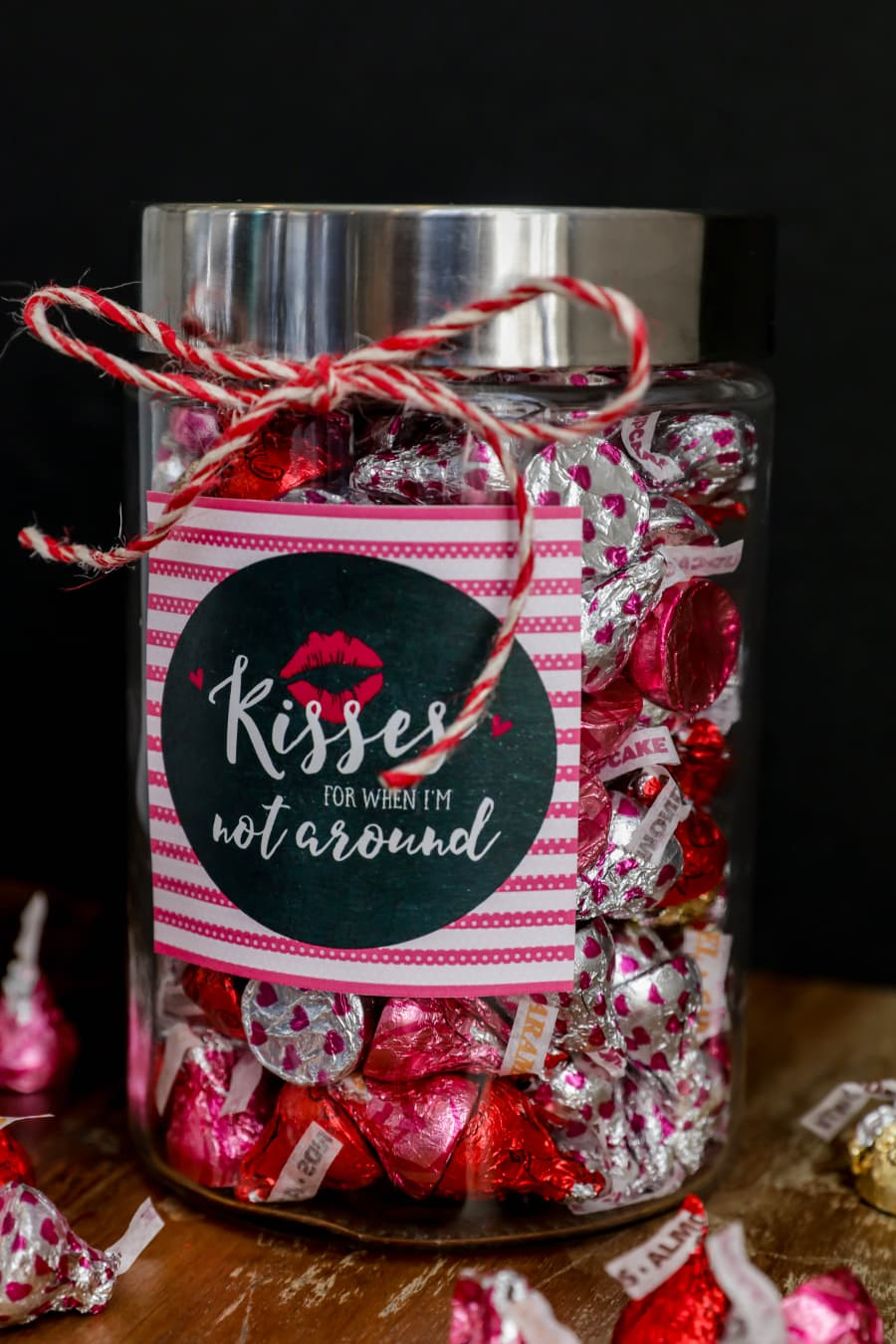 Cute and simple Valentine's Day Gift - Kisses Jar. An adorable and inexpensive way to gift kisses for Valentine's.