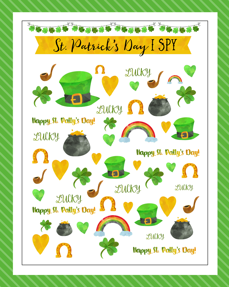 Free St. Patrick's Day I Spy Printable - a great activity to do with the kids in March.