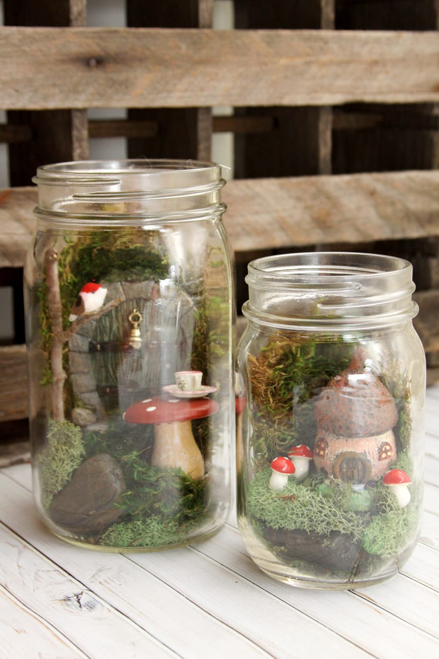 Mason Jar Fairy Gardens - Have you jumped on the fairy garden trend? They only take about 15 minutes to put together and you can have so much fun with different little houses, doors and accessories. They make really fabulous gifts too!