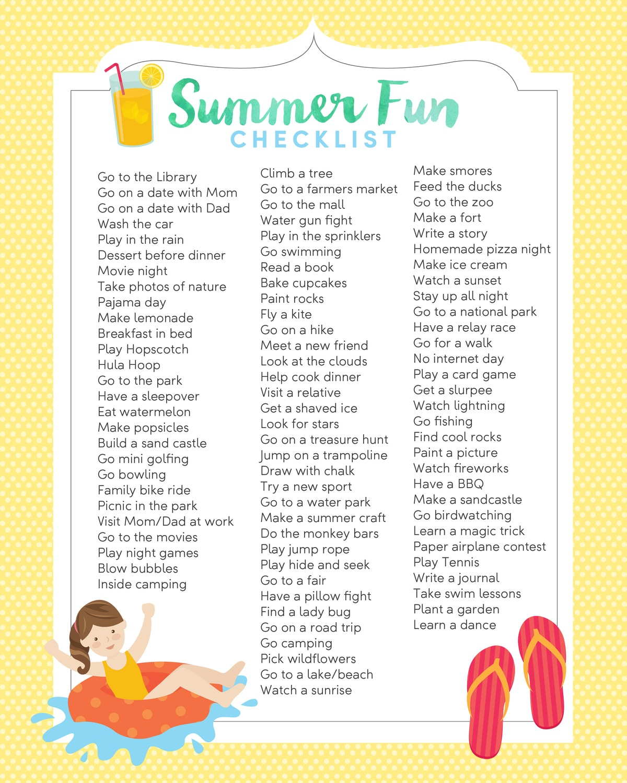 FREE Summer Fun List Print