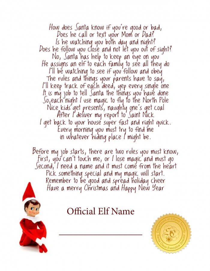 Elf on the Shelf poem from Dreaming for More Hours in a Day!! How cute!!